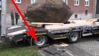 Bergung / Schwertransport eines 14 Tonnen Findlings durch das Panzerpionierbataillon Holzminden