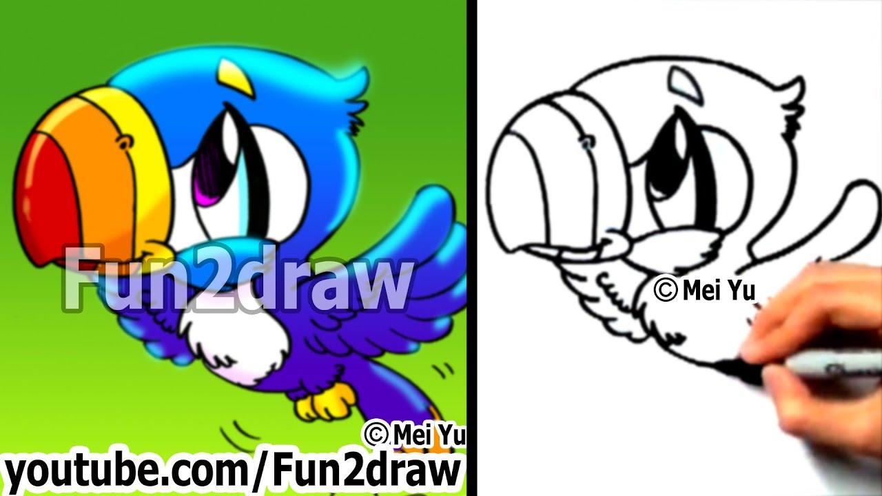How To Draw A Cartoon Bird  How To Draw A Toucan  Draw Animals  Fun2draw   Youtube