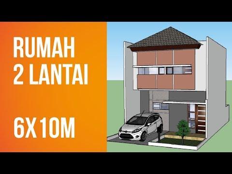 desain rumah minimalis 2 lantai di lahan 6x10m - youtube