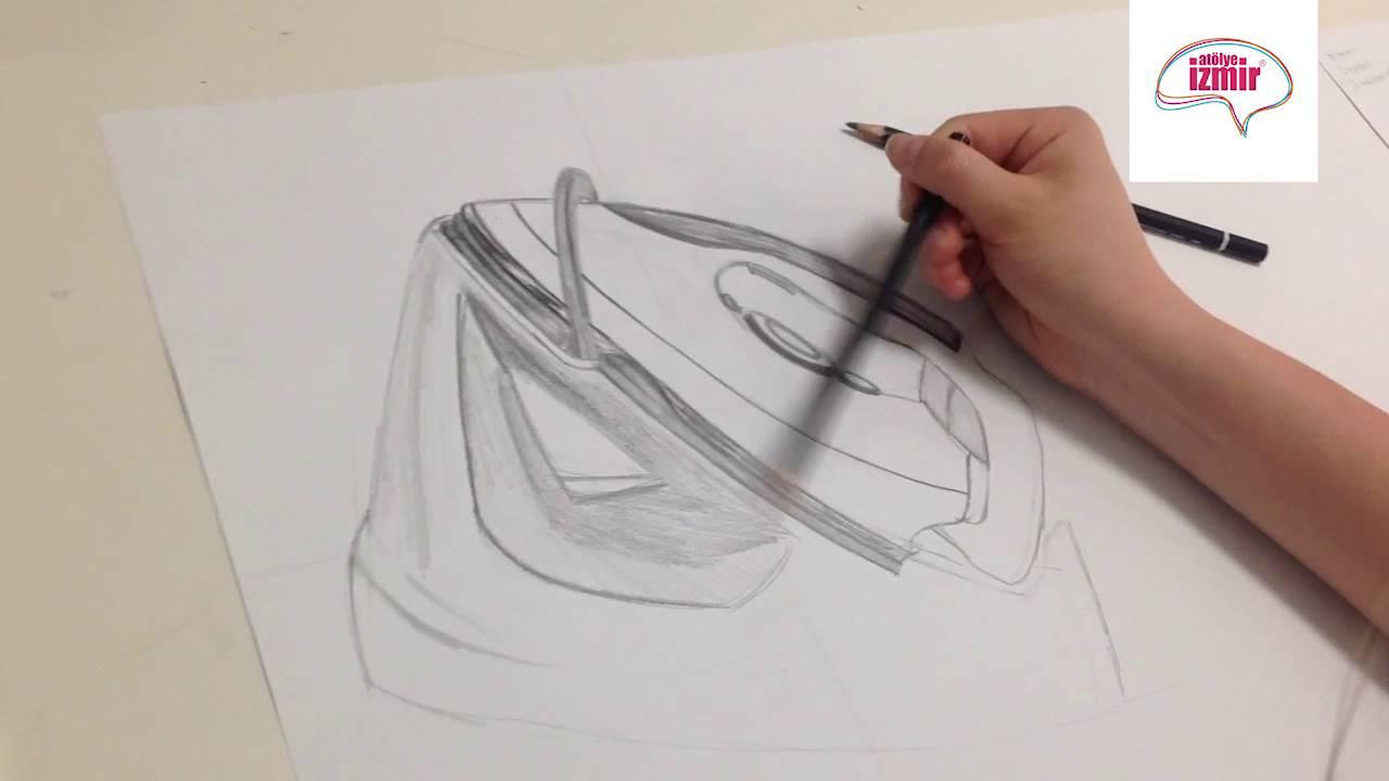 Karakalem Obje Çizim Çalışması (Ütü) - YouTube
