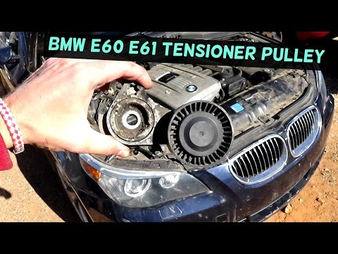 BMW E60 E61 SERPENTINE BELT TENSIONER RELACEMENT AND DIAGRAM 525i 530i  530xi 525xiar shirts - YouTube
