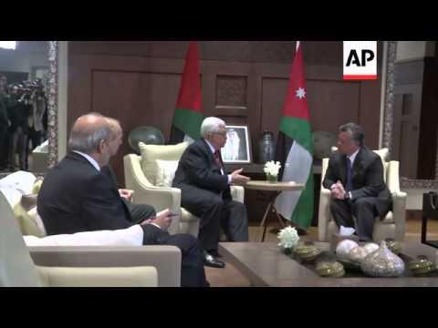 Palestinian President Mahmoud Abbas meets King Abdullah II