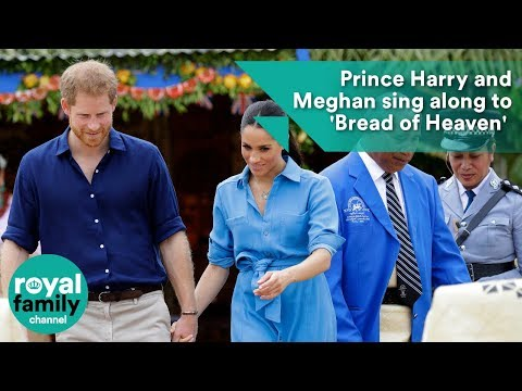 Prince Harry and Meghan sing along to 'Bread of Heaven' at Tonga school