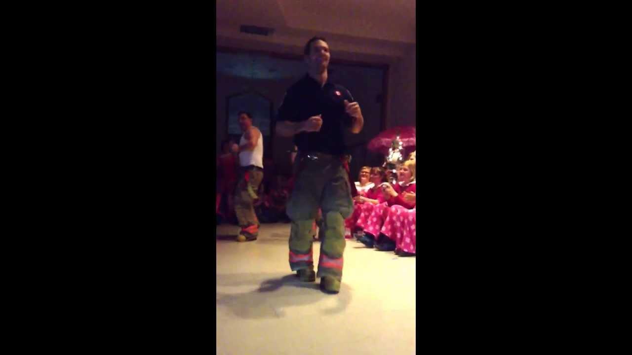 Firemen strip tease