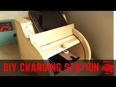 DIY charging station made from scrap wood