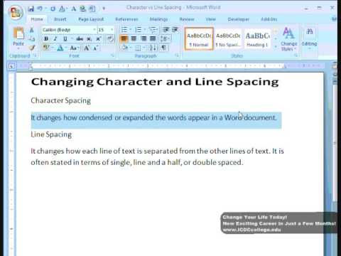 Microsoft Word Letter Spacing.Change Character And Line Spacing In Word 2007 By Icdc College