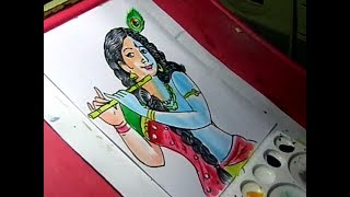 How to Draw Lord Radha Krishna color Drawing