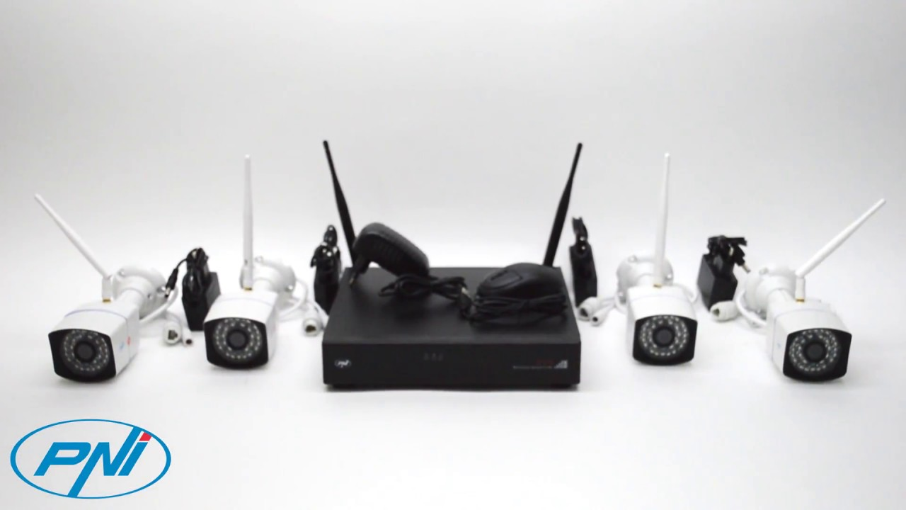 Kit supraveghere video PNI House WiFi 400 NVR si 4 camere wireless, 1.0MP