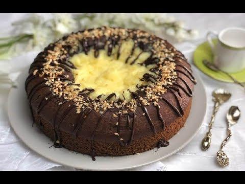Torta vulcano al cioccolato e crema, semplice e golosa