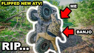 We WRECKED the New ATV in My BACKYARD!!! (ALMOST DIED)