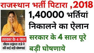 Rajasthan recruitment 2018   1,40000 राजस्थान बम्पर भर्तिया 2018   bjp cm vasundhara raje