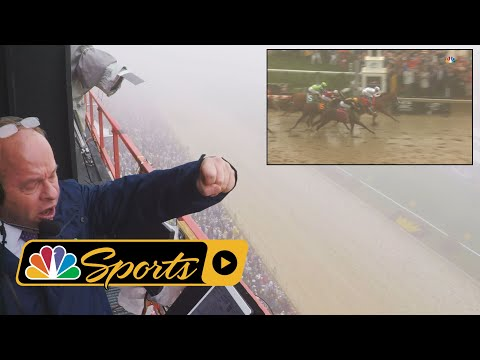 2018 Preakness Stakes: Watch Larry Collmus' call through the fog as Justify wins I NBC Sports