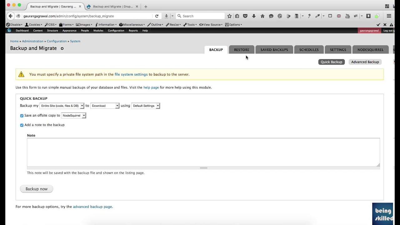 How to take backup of Drupal Website using Backup & Migrate ...