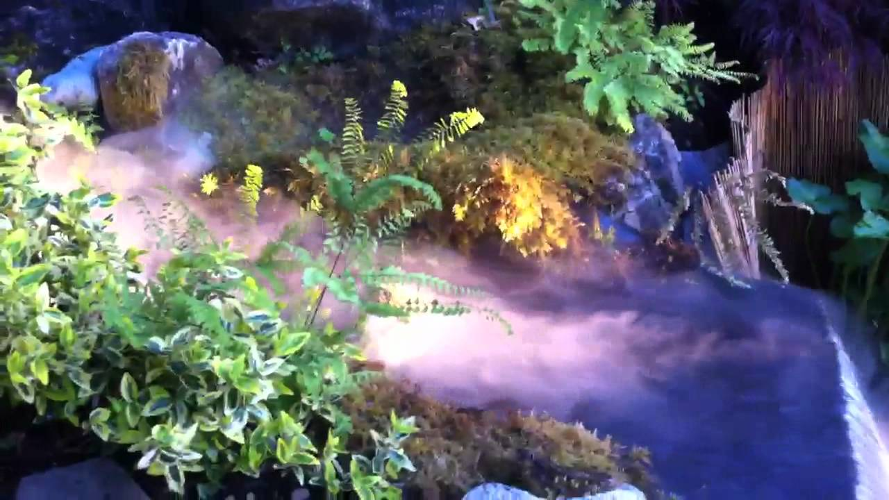 Pond Waterfall Stream With Fogger Youtube