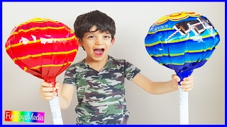 Repeat youtube video GIANT CHUPA CHUPS LOLLIPOPS Kids Candy Review | Learn Numbers with Lollipops