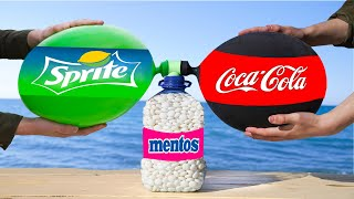 Experiment: the Balloons of Coca Cola & Sprite VS a Bottle of Mentos. Cool reaction!