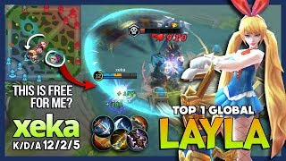Bunny Babe with The Real Powerful Pure Damage! xeka Top 1 Global Layla ~ Mobile Legends