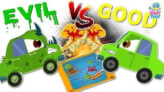 Good Vs Evil Small Car ~ Scary Street Vehicles ~ Videos For Kids