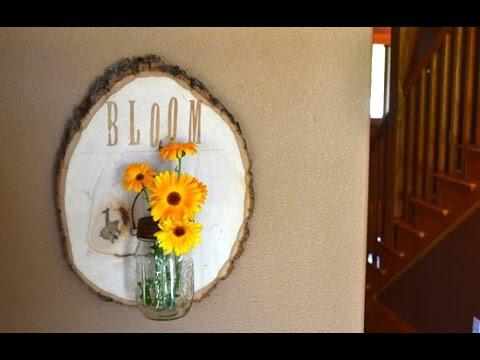 DIY Rustic Wood Slice Wall Mounted Vase