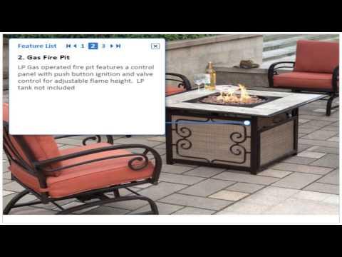 Gas Fire Pit 5 Piece Patio Furniture