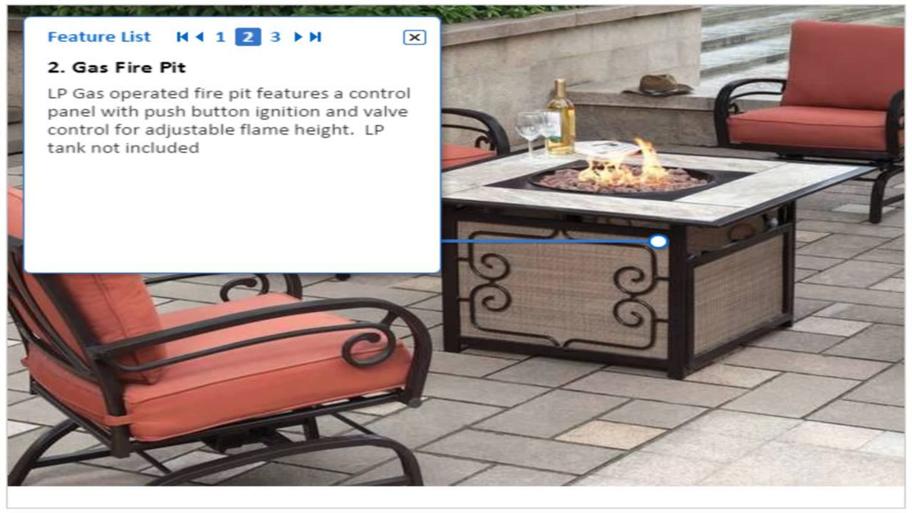 Patio Furniture For Over 300 Lbs.Gas Fire Pit 5 Piece Patio Furniture