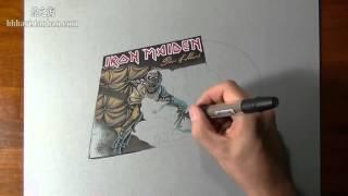 How I draw my Iron Maiden vinyl Piece of Mind00后大神教学