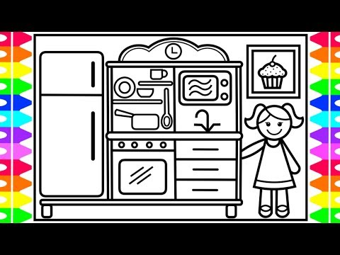 How to Draw a Baby Doll Kitchen Set for Kids 💜💖💛 Baby Doll Kitchen Set Drawing and Coloring Kids