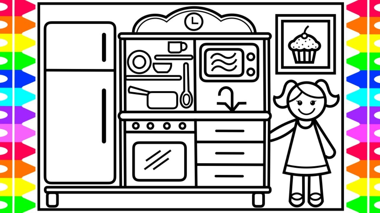 How To Draw A Baby Doll Kitchen Set For Kids Baby Doll