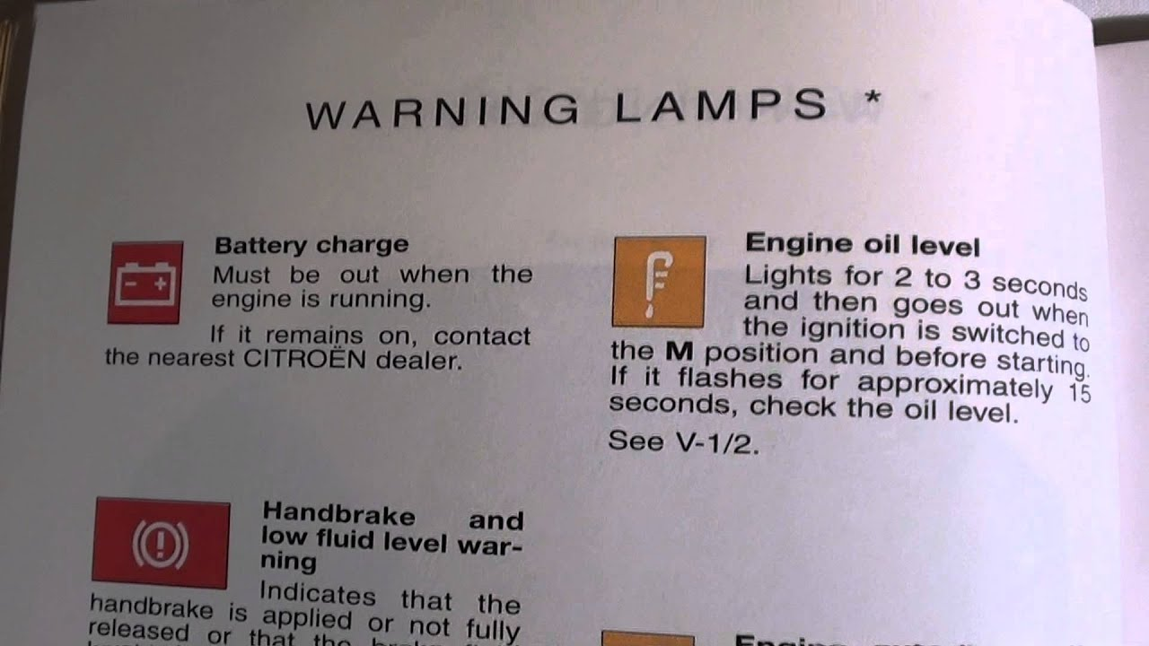 Citroen Saxo Dash Warning Lights  U0026 Symbols -