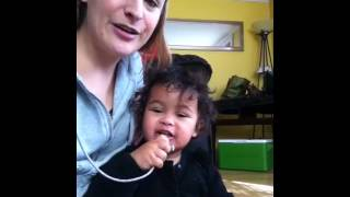 Cute American baby girl speak Swahili words
