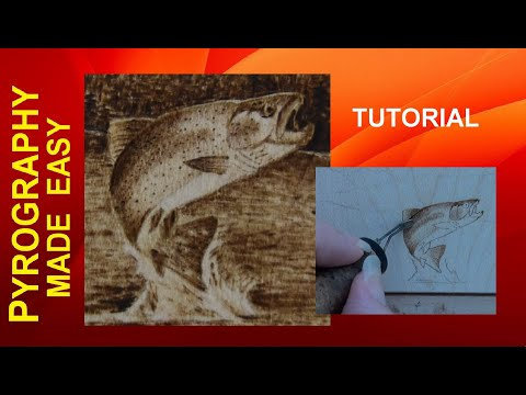 Leaping Trout Pyrography Tutorial shading techniques in wood burning