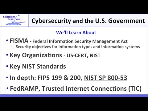 Part 2: Cybersecurity and U.S. Government: FISMA, FIPS, SP 800-53