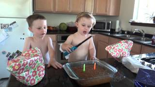 July 13, 2014: Benjamin practices BD song and blowing candles