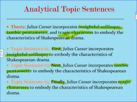 Analytical Five Paragraph Essay Topic Sentences 1