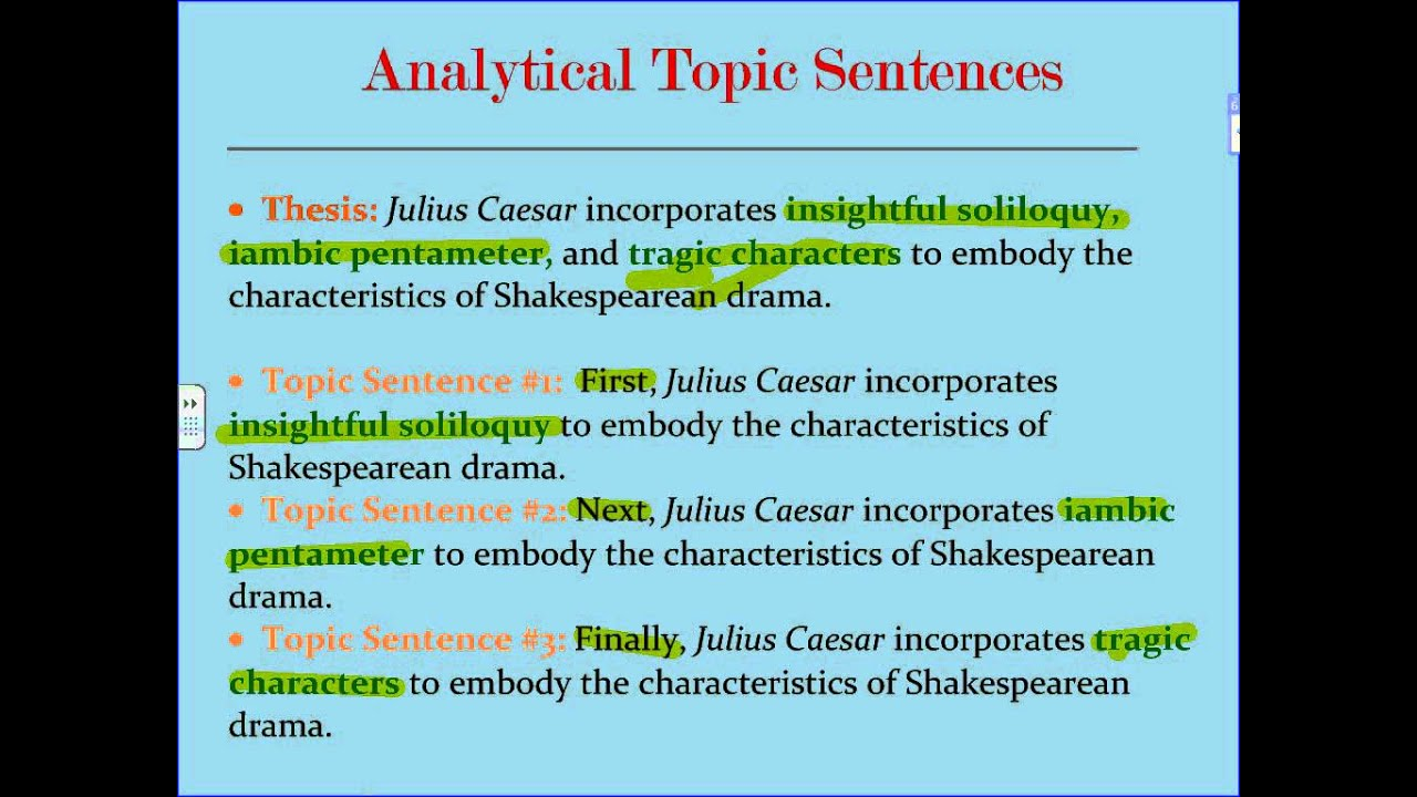 examples of topic sentences for an essay How to write an essay/parts from wikibooks the thesis sentence states a claim that consists of two or more related points for example, a thesis might read: a college essay has an the topic sentence for the first body paragraph will refer to the first point in the thesis sentence.
