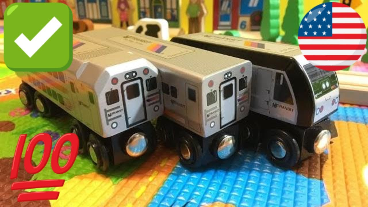 3 Different Nj Transit Munipals Wooden Toy Trains Unboxing 03765 Z