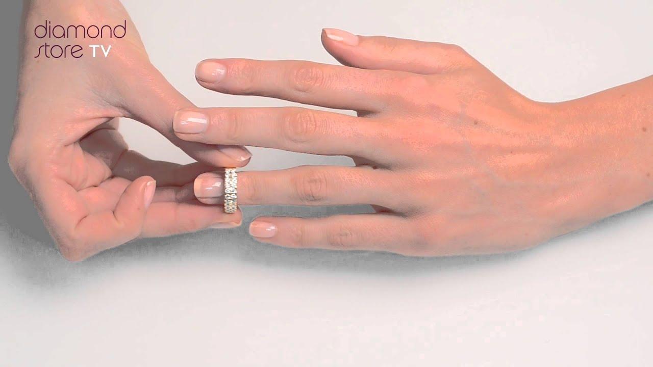 N4497 - Diamond 1.00ct And 18K Gold Half Eternity Ring - YouTube