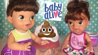 Baby Alive big sister teaches little sister to use the potty SCARED OF THE POTTY
