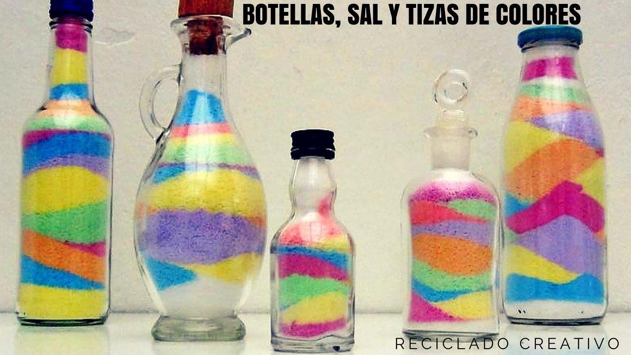 Manualidades con ni os una botella de cristal con sal y - Manualidades con botellas de cristal ...