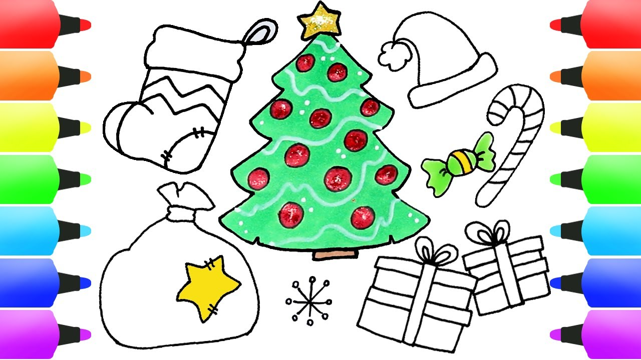CHRISTMAS Drawings for Kids - Christmas Tree, Gifts, Santa's Hat, Gingerbread Man & More