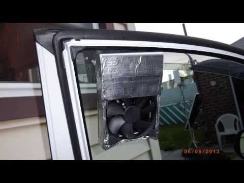 diy solar car ventilator with 5v 500ma solar panel and 120mm fan