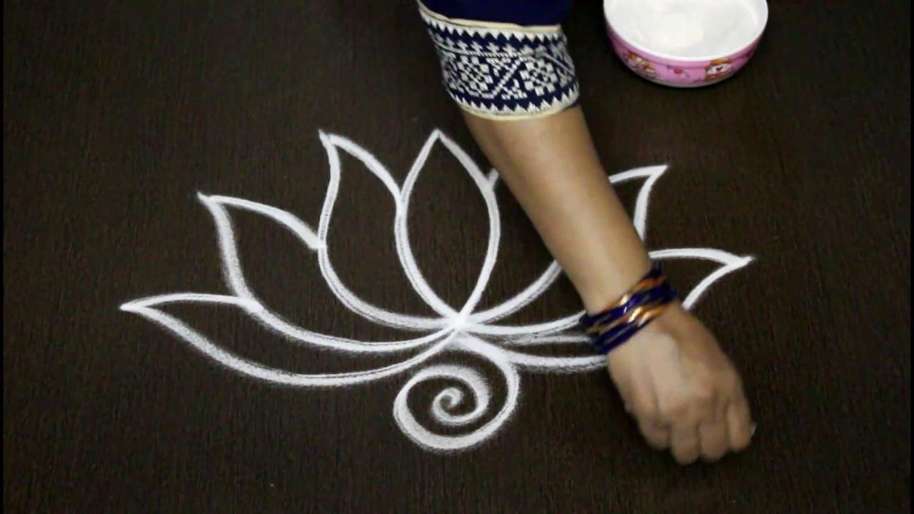 Creative Flower Rangoli Designs Easy Lotus Rangoli Art Designs