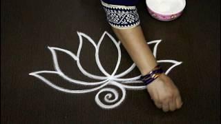 creative flower rangoli designs - easy lotus rangoli art designs with out dots - simple muggulu