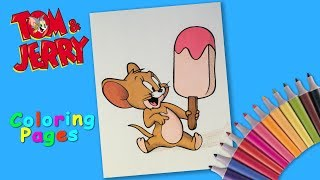 Coloring Jerry from Tom and Jerry. Coloring page for kids. How to draw a mouse cartoon.