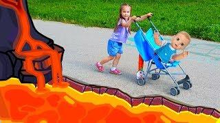 The Floor is Lava with Baby doll Vlad and Yulya Пол это Лава на детской площадке с Юлей и куклой