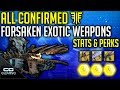 Destiny 2 All New Forsaken Exotic Weapons | Exotic Perks/Stats Details