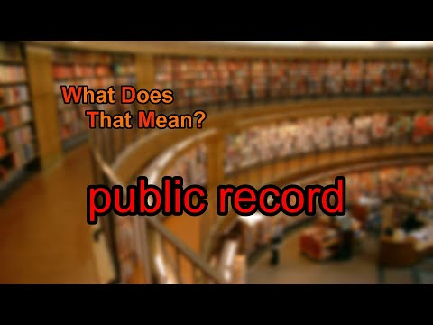 What does public record mean?