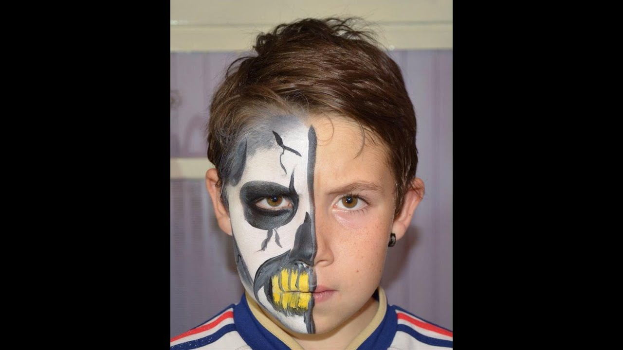 Tuto maquillage facile halloween demi t te de mort youtube - Maquillage halloween facile homme ...