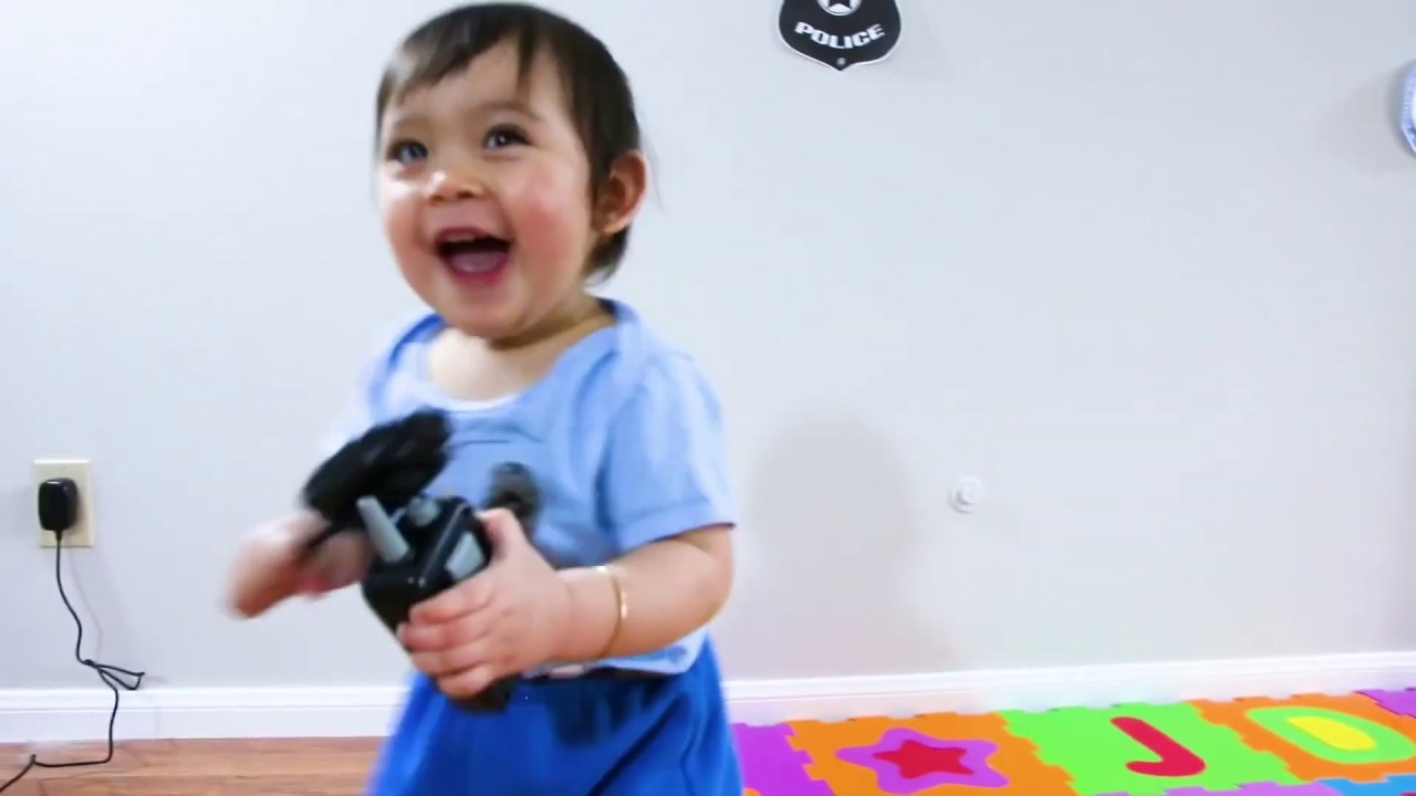Baby Sarah Pretends To Play as a Kid Police Officer - Hilarious Play at Home Kids Videos