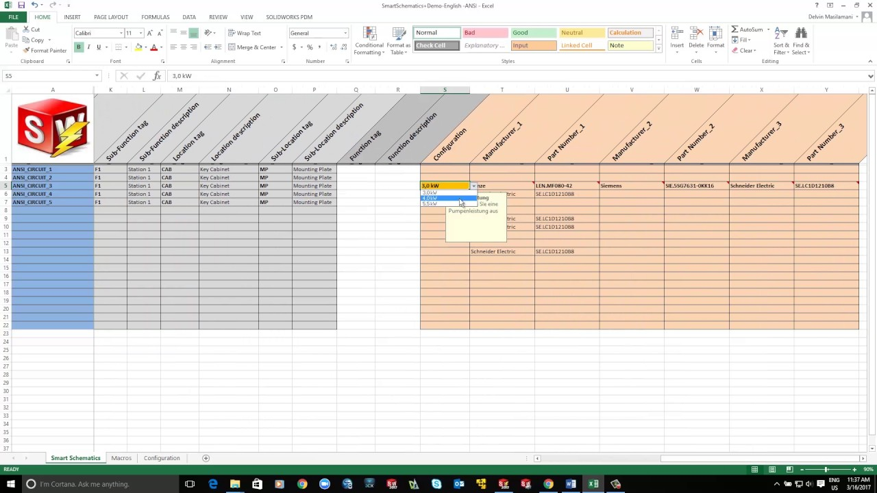 SOLIDWORKS Electrical: Excel Automation